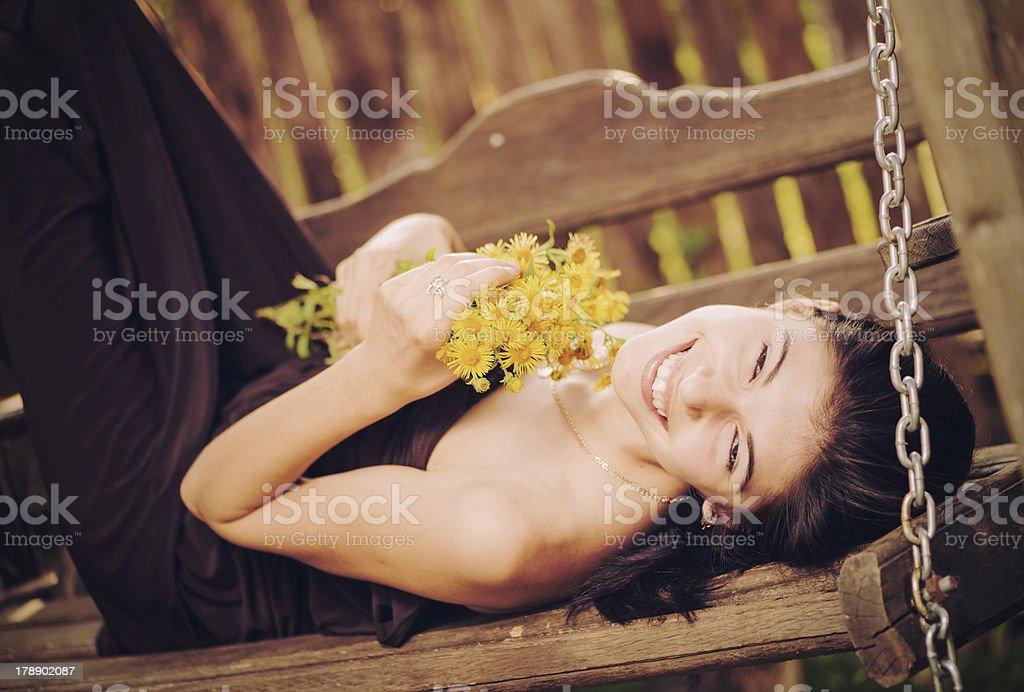 smiling brunet royalty-free stock photo