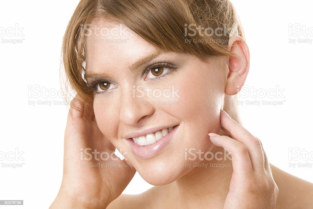 Smiling Brunette with angelic smile royalty-free stock photo