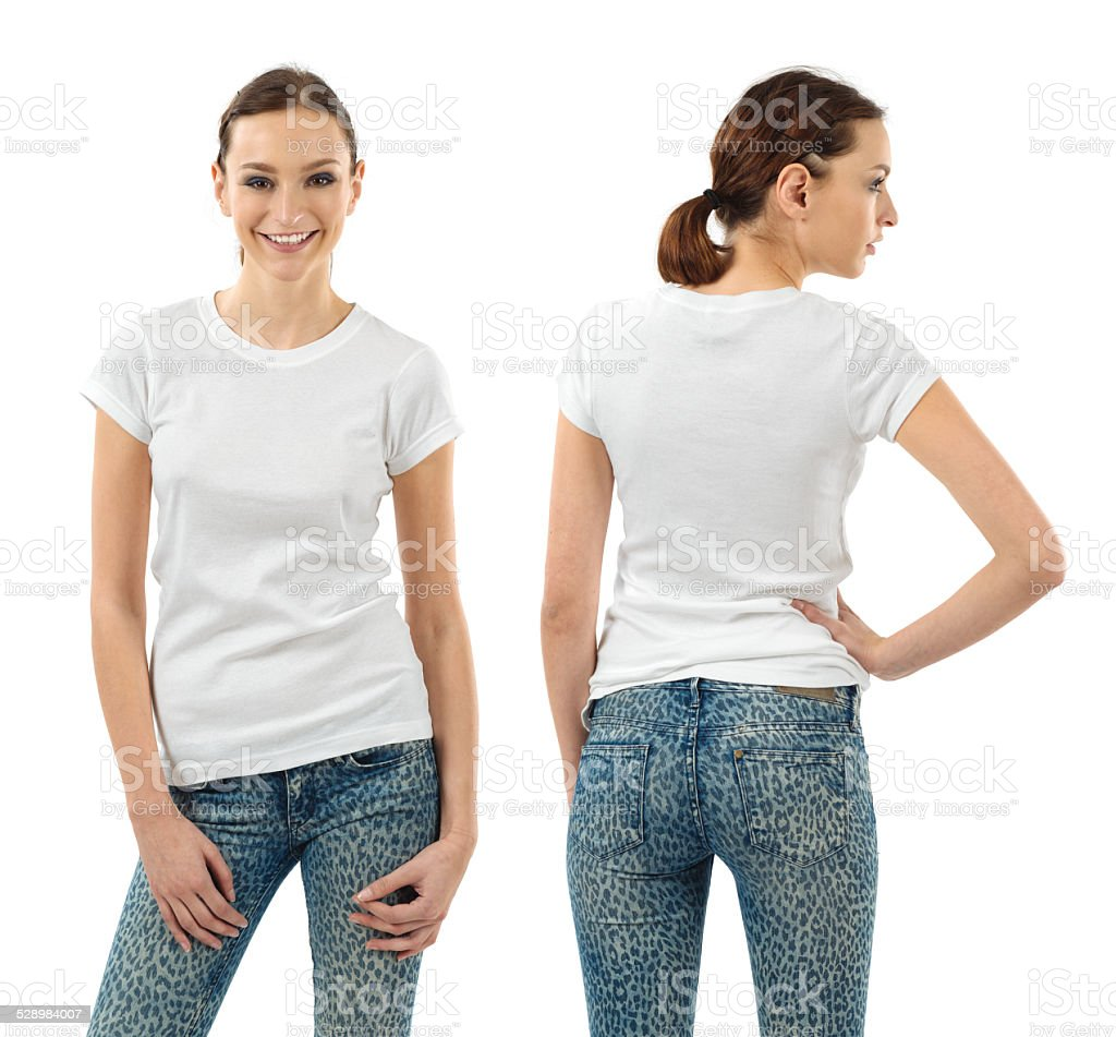 Smiling brunette with blank white shirt stock photo