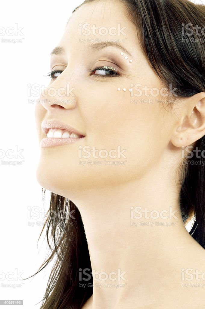 smiling brunette with diamond make-up royalty-free stock photo
