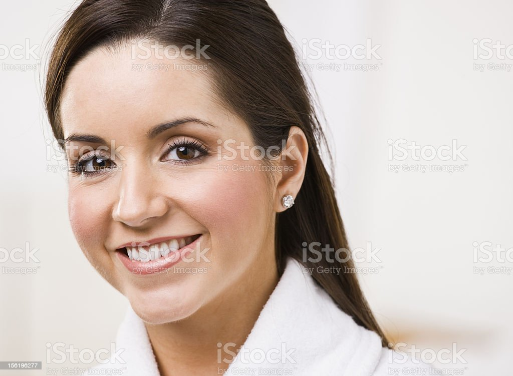 Smiling brunette woman royalty-free stock photo