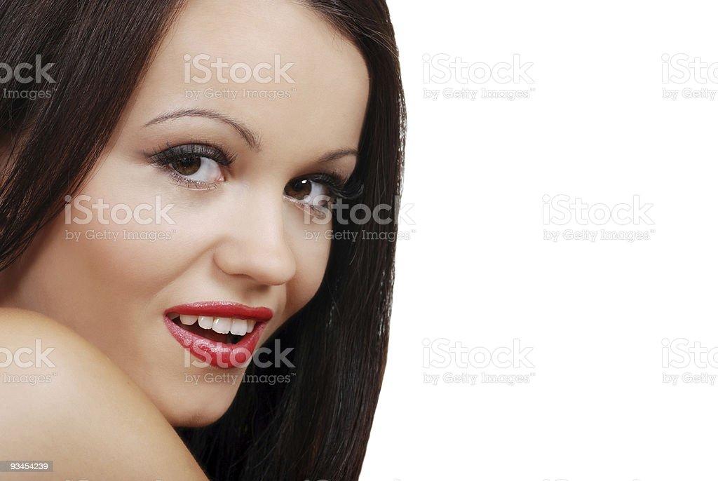 Lächeln brunette Frau mit rotem Lippenstift Lizenzfreies stock-foto