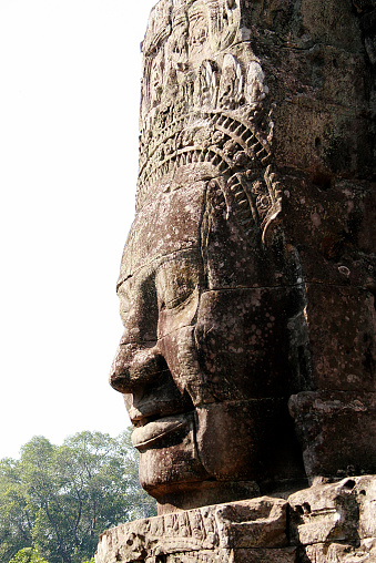 Smiling Buddha Face on Bayon temple in Angkor Wat, Cambodia's Archeological site in Siem Reap