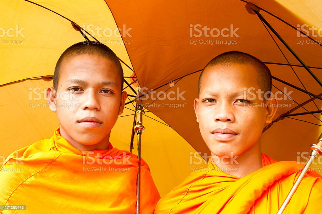 Smiling Buddhist monks royalty-free stock photo