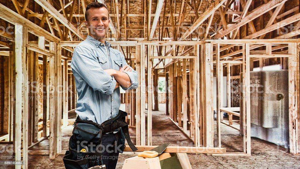 Sonriendo Contratista independiente foto de stock libre de derechos