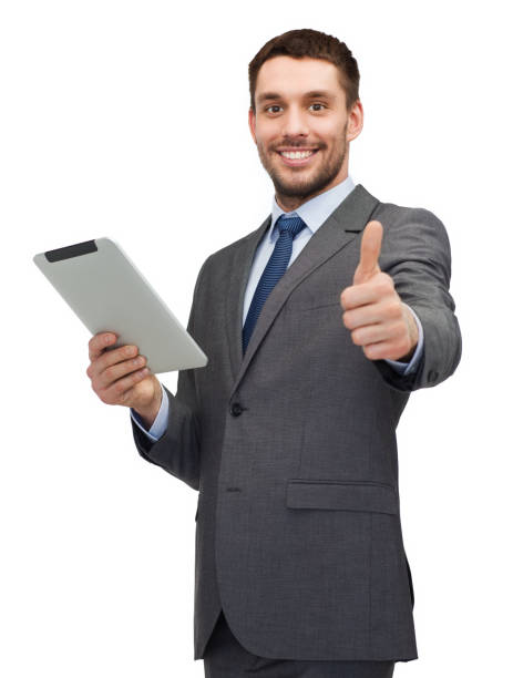 lächelndbuisnessman mit Tablet-PC-Computer – Foto