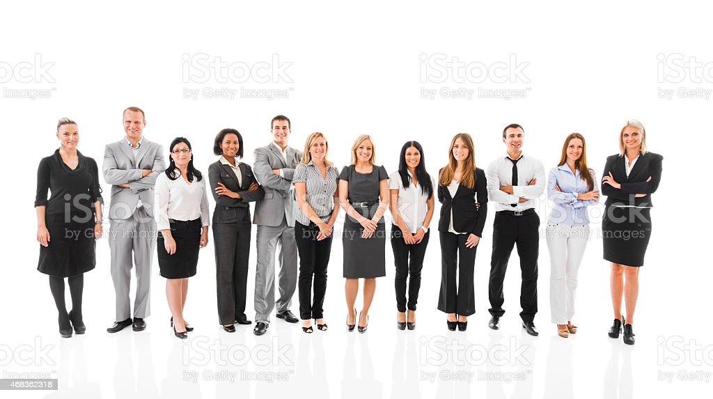 Smiling business people looking at the camera. Isolated on white. royalty-free stock photo