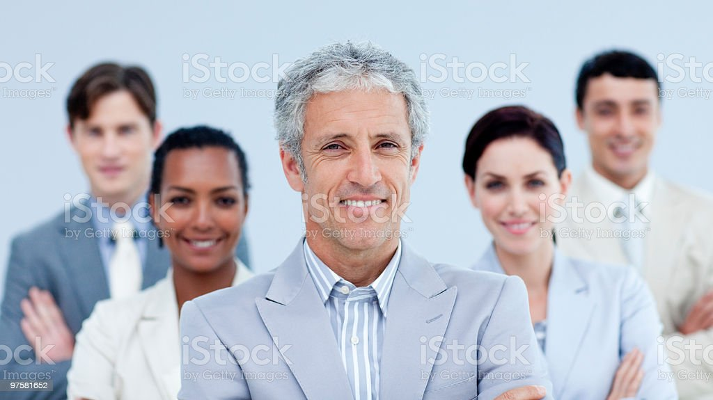 Smiling business team showing ethnic diversity royalty-free stock photo