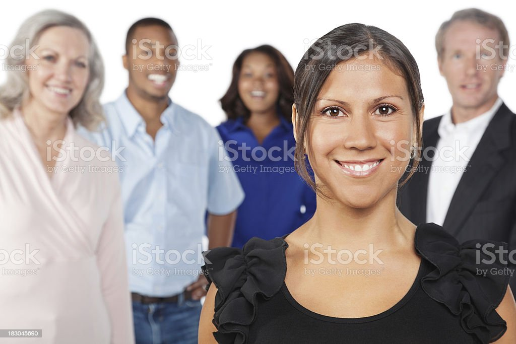 Smiling Business Woman In Front of Her Co-Workers royalty-free stock photo