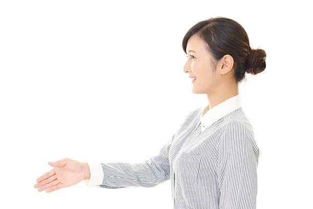 笑顔のビジネス女性 - 女性 横顔 日本人 ストックフォトと画像