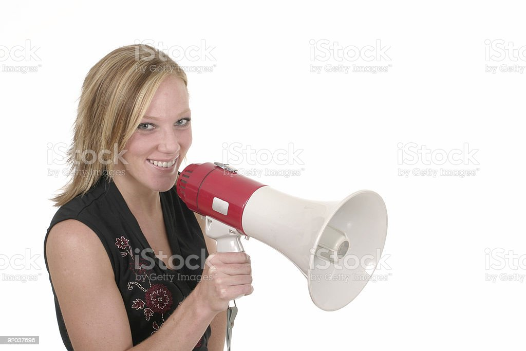 Smiling Business Woman With Megaphone 2 royalty-free stock photo