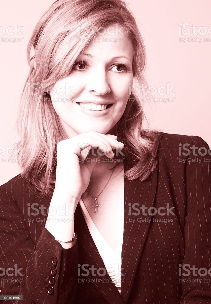 smiling business woman with rose tint royalty-free stock photo