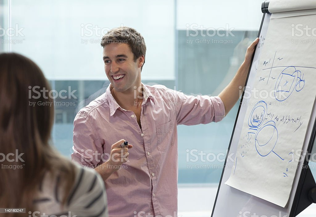 Smiling businessman at flipchart royalty-free stock photo