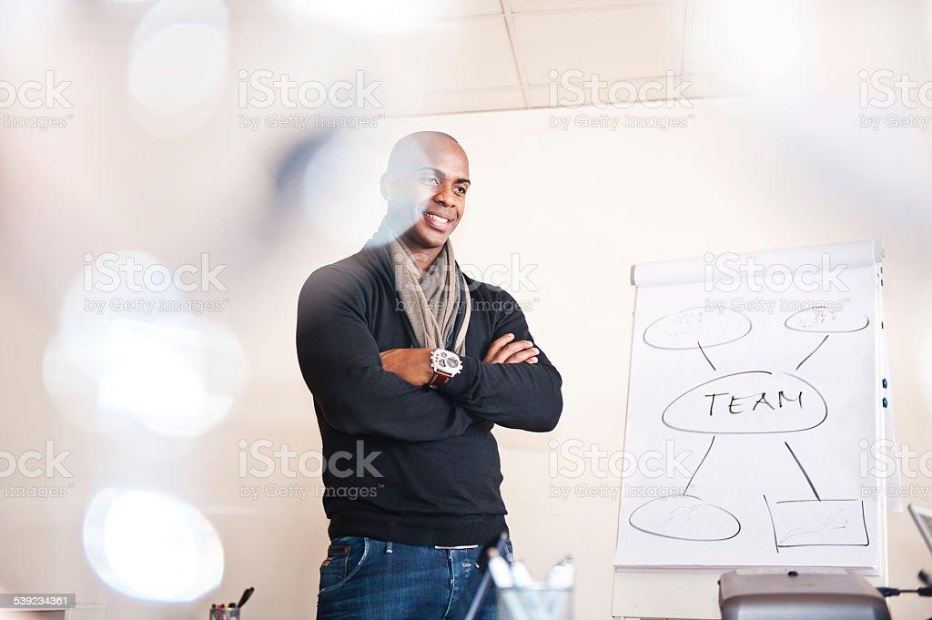 Sonriente hombre de negocios dando presentación en pizarra acrílica rotafolio foto de stock libre de derechos