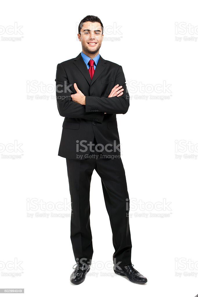 Smiling businessman isolated on white stock photo