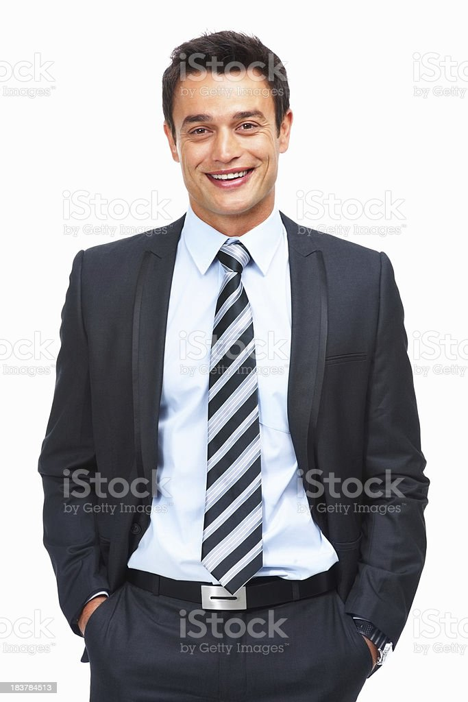 Smiling businessman on white background royalty-free stock photo