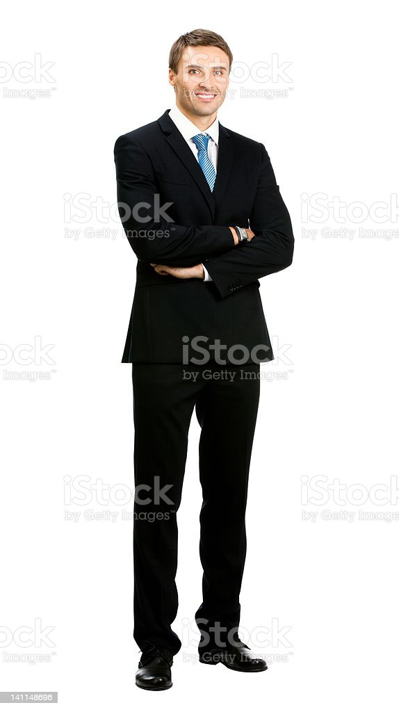 Smiling businessman, over white royalty-free stock photo