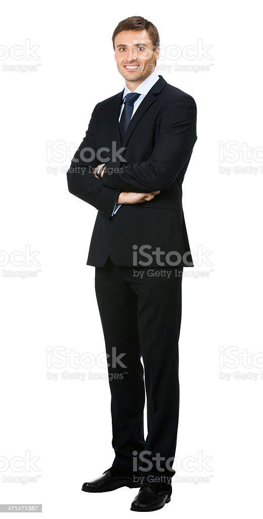 Smiling businessman, over white stock photo