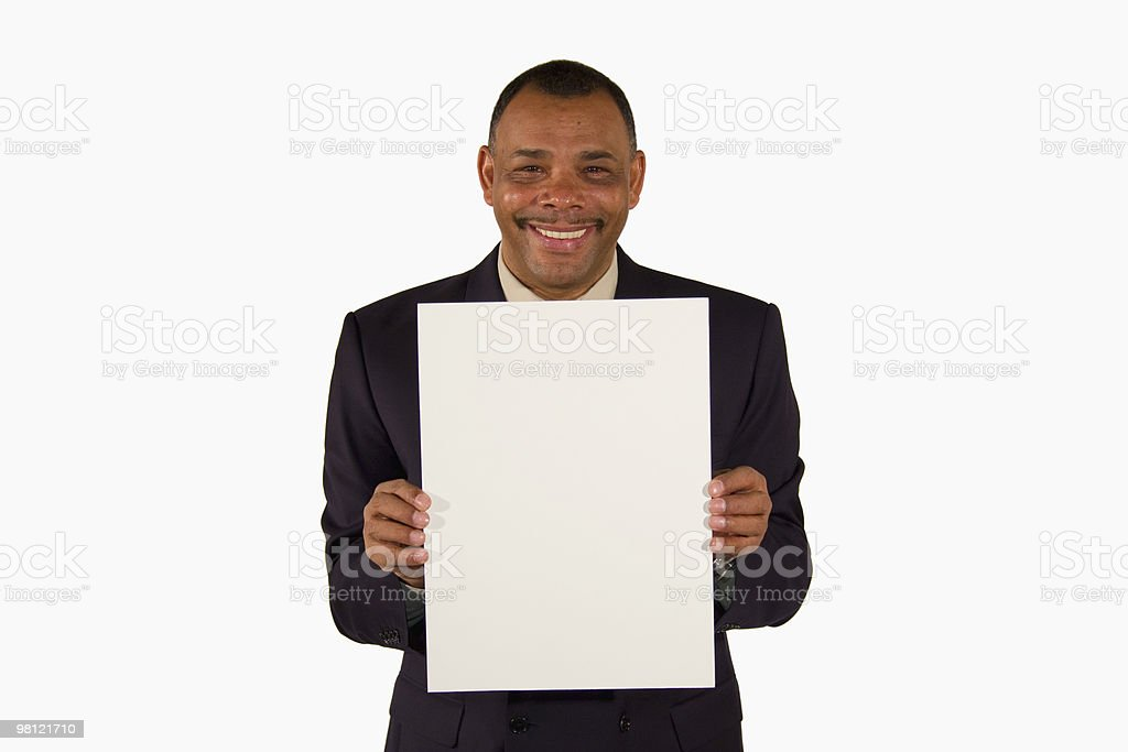 smiling businessman presenting picture board royalty-free stock photo