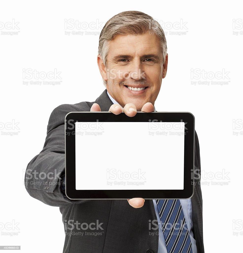 Smiling Businessman Showing Digital Tablet stock photo