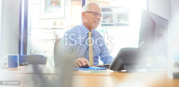 istock Smiling businessman using computer 827092852