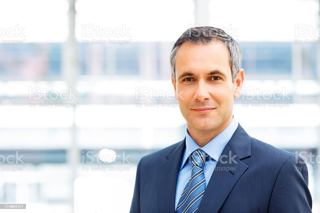 Smiling businessman wearing a suit royalty-free stock photo