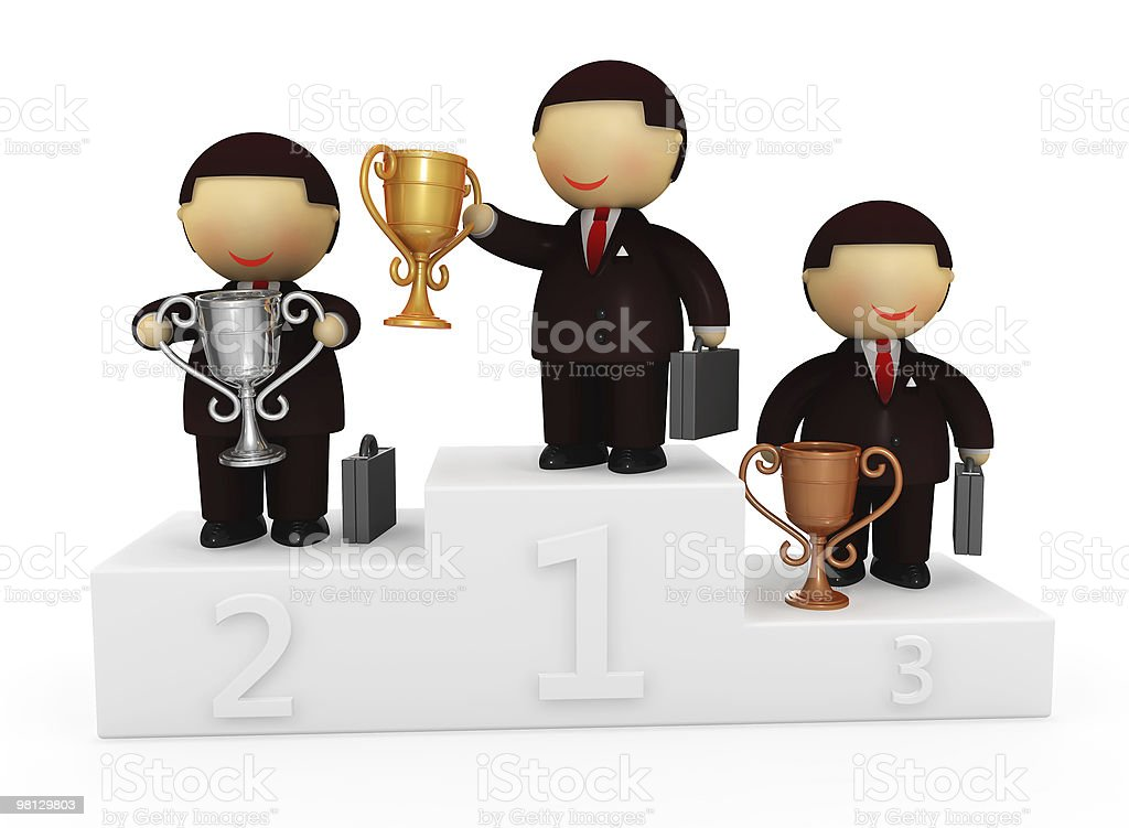 Smiling businessmen characters with a cups stock photo