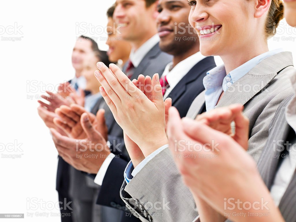 Smiling Businesspeople Clapping royalty-free stock photo