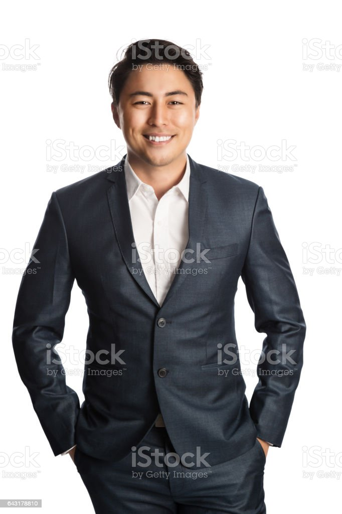 Smiling businessperson in suit and shirt stock photo