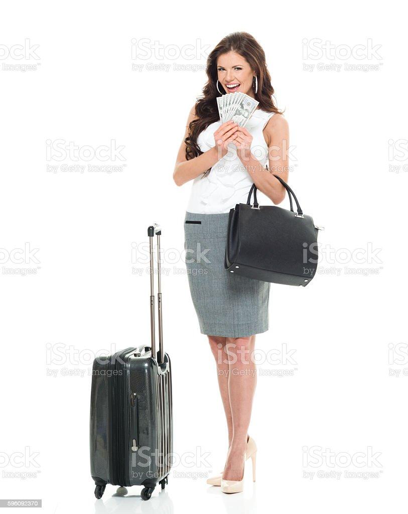 Lächelnd Geschäftsfrau halten Geld Lizenzfreies stock-foto