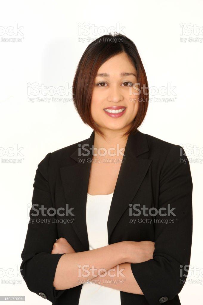 Smiling businesswoman on White royalty-free stock photo