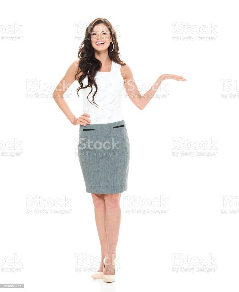 Lächelnd Geschäftsfrau präsentieren  Lizenzfreies stock-foto