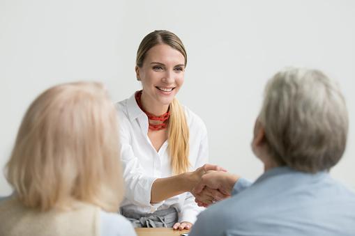 istock Smiling businesswoman shaking hand of senior hr at job interview 924512850
