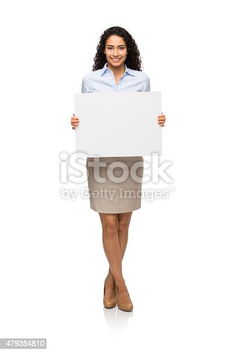 istock Smiling businesswoman showing placard 479354810
