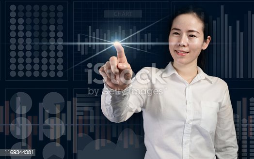 smiling businesswoman touching virtual screen, business startup as concept, trendy girl.