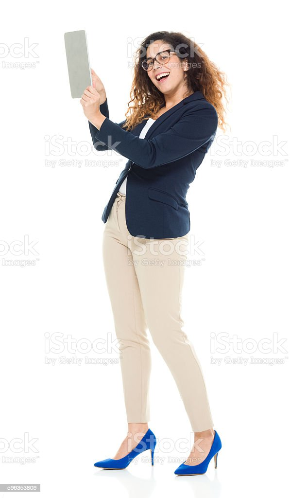 Smiling businesswoman using tablet royalty-free stock photo