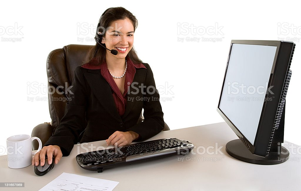 Smiling Businesswoman With Headset royalty-free stock photo