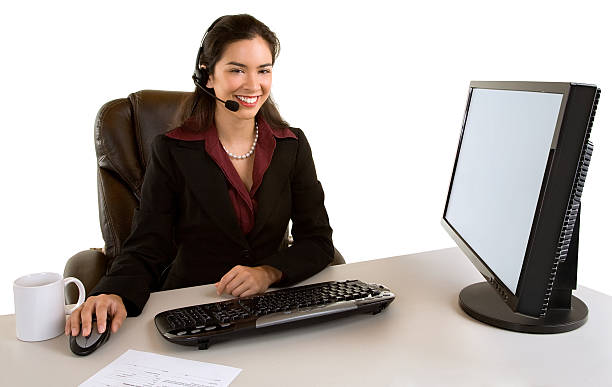Smiling Businesswoman With Headset stock photo