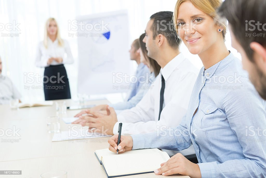Smiling Businesswomen at office meeting royalty-free stock photo