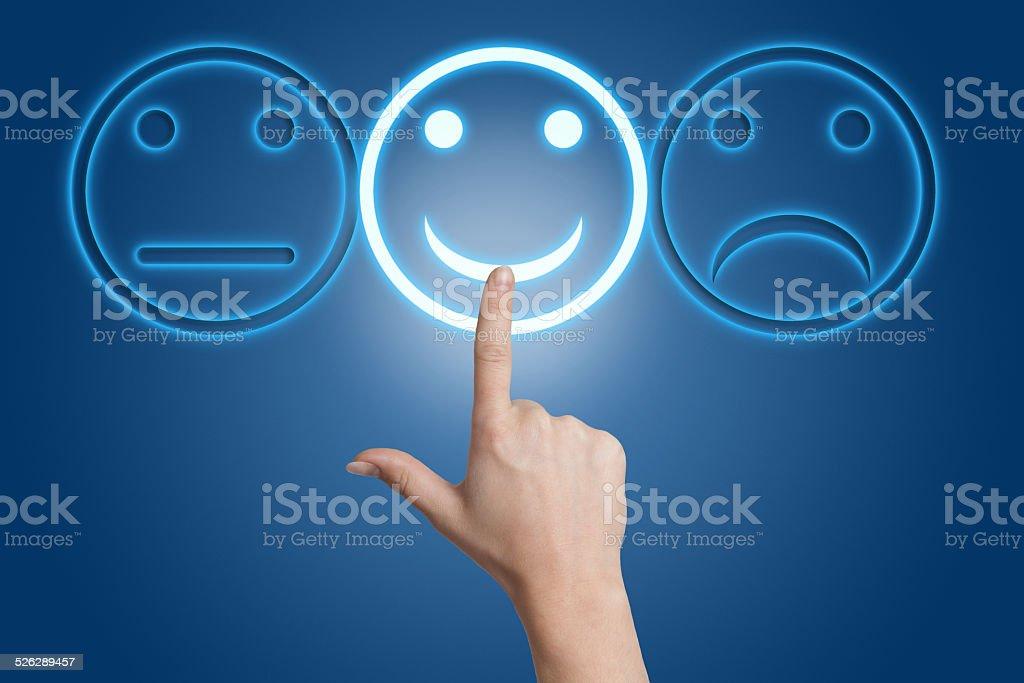 Smiling button stock photo