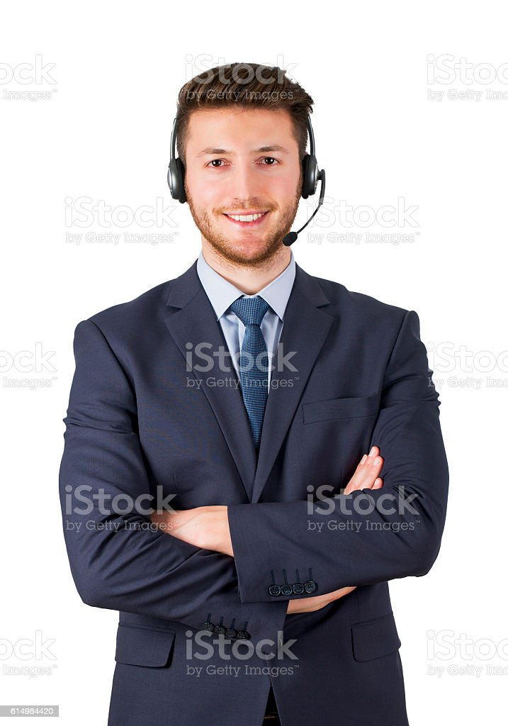Smiling call center employee on white background isolated stock photo