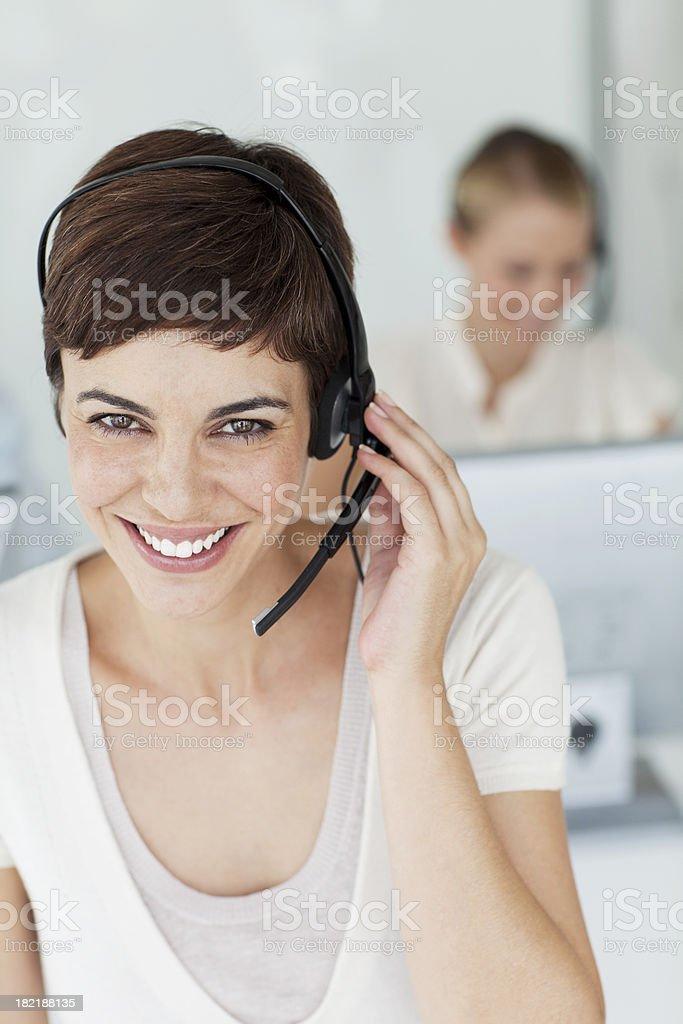 Smiling Call Center Representative. royalty-free stock photo