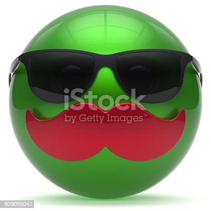 istock Smiling cartoon mustache face green emoticon ball happy boy 529055042