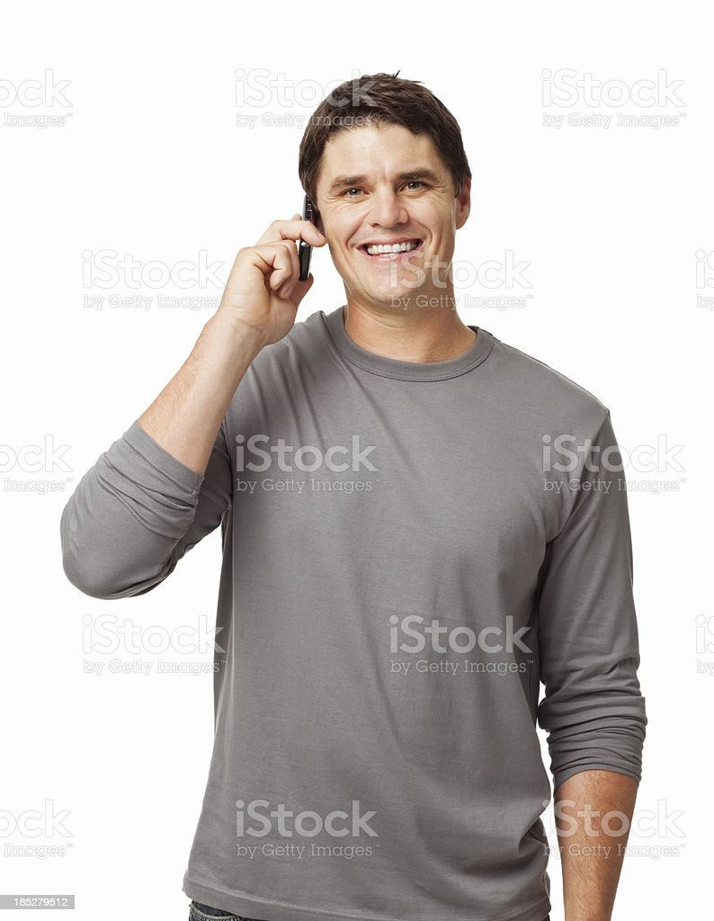 Smiling Casual Man On Call - Isolated stock photo