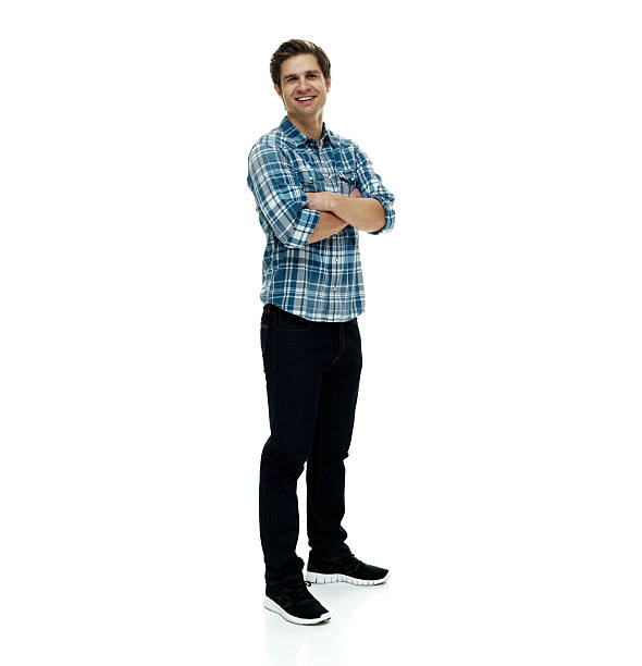 Smiling casual man standing with arms crossed Smiling casual man standing with arms crossedhttp://www.twodozendesign.info/i/1.png plaid shirt stock pictures, royalty-free photos & images