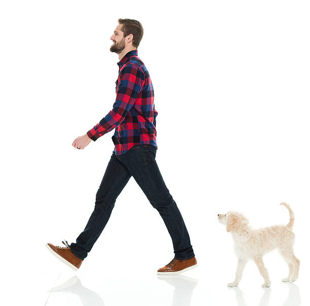 Smiling casual man walking with his puppy ストックフォト