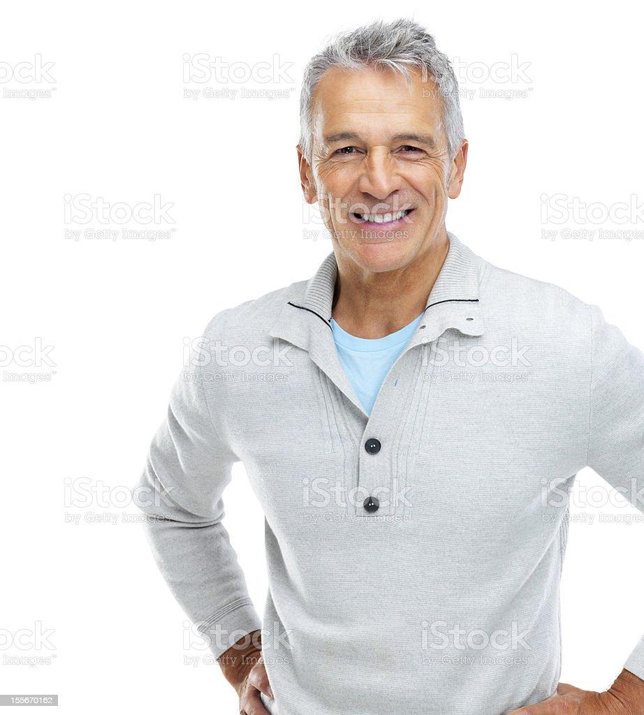 Smiling, casual senior man stock photo