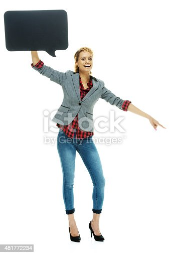 1128272390 istock photo Smiling casual woman pointing with speech bubble 481772234
