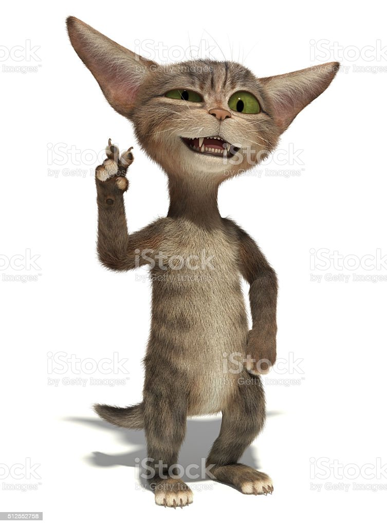 3D smiling cat waving hand on white background stock photo