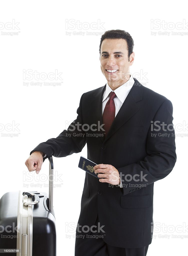 Smiling Caucasian Man Traveling With Suitcase Passport Isolated White Background stock photo
